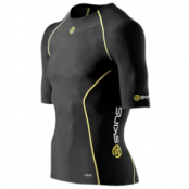 Skins A200 Mens Top Short Sleeve - Kompressionströja - Black/Yellow