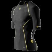 Skins A200 Mens Top Short Sleeve - Kompressionströja - Svart/Gul - Utförsäljning