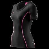 Skins A200 Womens Top Short Sleeve - Kompressionströja - Svart/Rosa - Utförsäljning